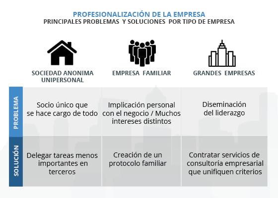 Principales problemas para la profesionalización de la empresa