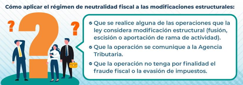 Régimen fiscal de las modificaciones estructurales