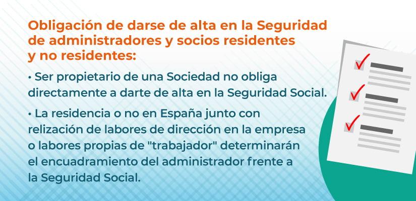 Obligación alta seguridad social para administradores y socios